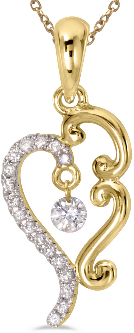 14K Yellow Gold Diamond Dashing Diamonds Pendant (Chain NOT included) (CM-P8818)