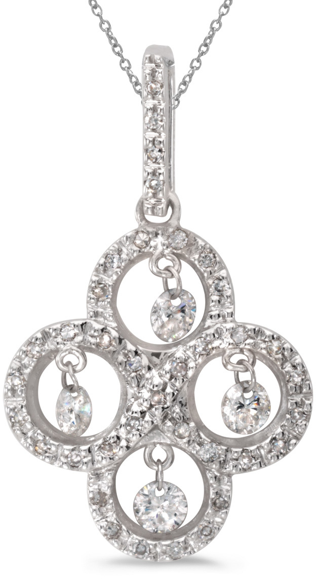 14K White Gold Diamond Dashing Diamonds Pendant (Chain NOT included) (CM-P8856W)