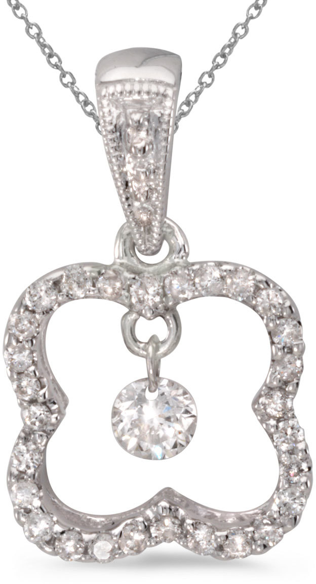 14K White Gold Diamond Dashing Diamonds Pendant (Chain NOT included) (CM-P8865W)