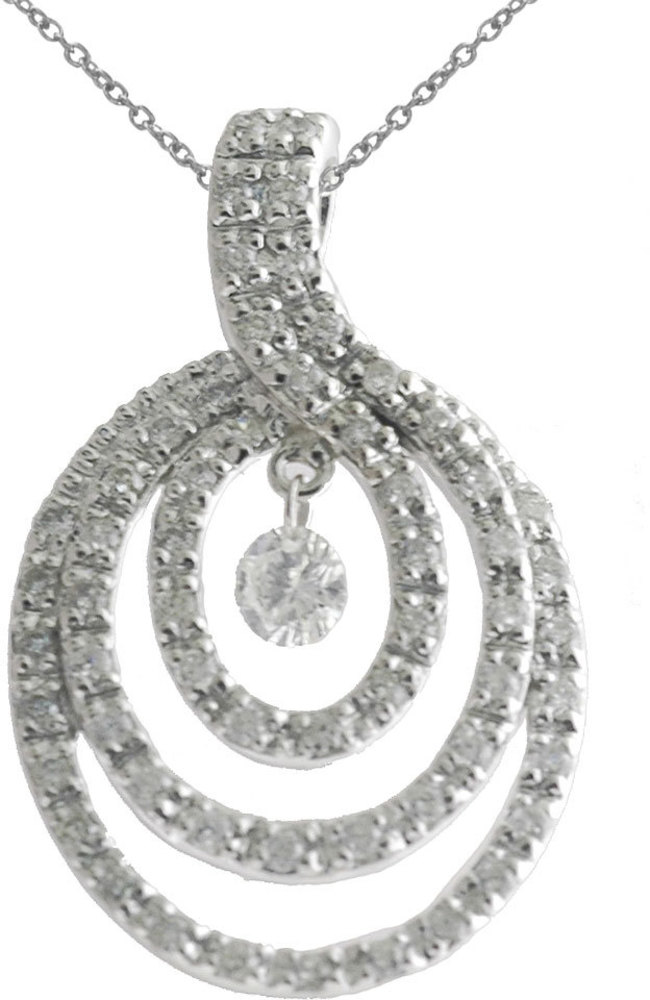 14K White Gold Diamond Dashing Diamonds Pendant (Chain NOT included) (CM-P8868W)