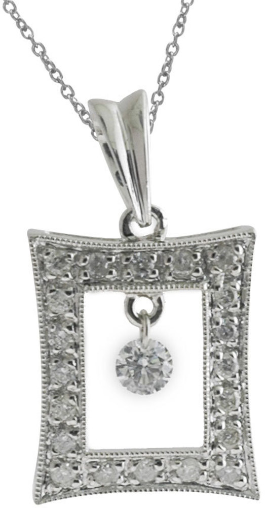 14K White Gold Diamond Dashing Diamonds Pendant (Chain NOT included) (CM-P8870W)