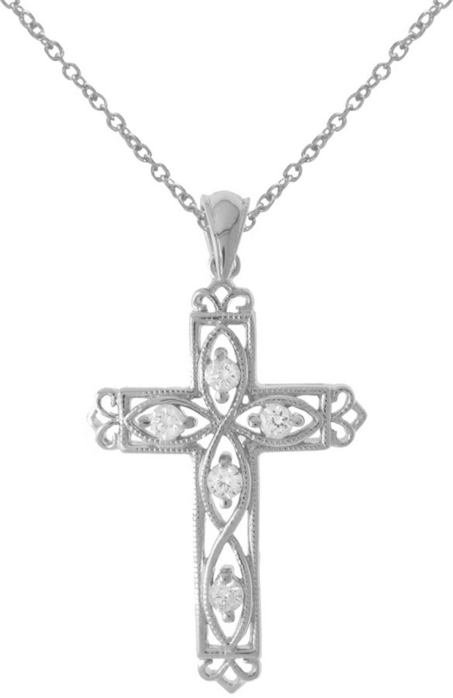 14K White Gold .25 ctw Diamond Filigree Cross Pendant (Chain NOT included)