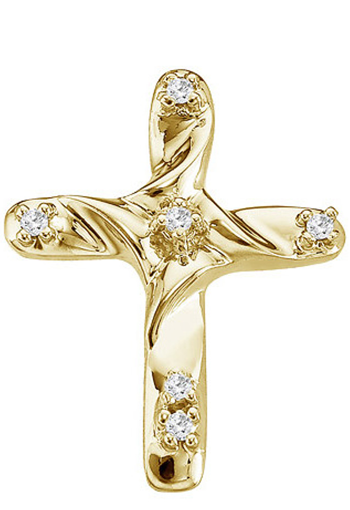 14K Yellow Gold Diamond Cross Pendant (Chain NOT included) (CM-P8994)
