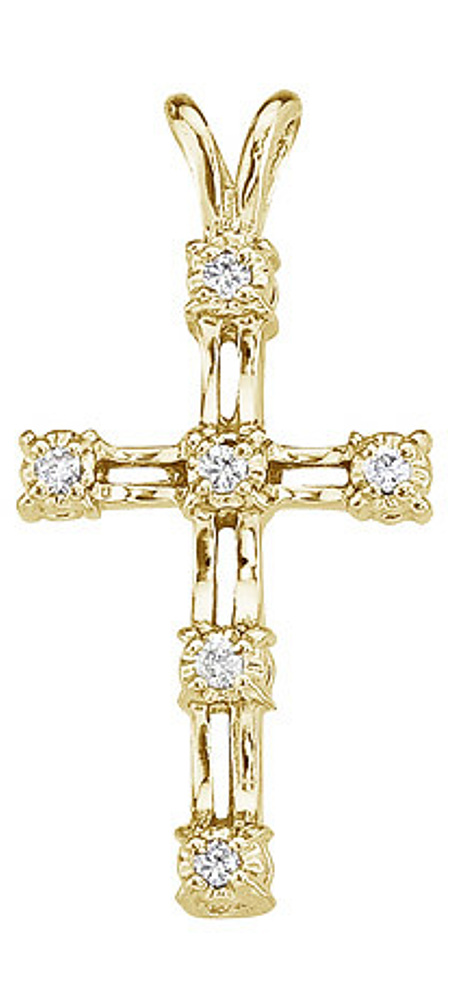 14K Yellow Gold Diamond Cross Pendant (Chain NOT included)