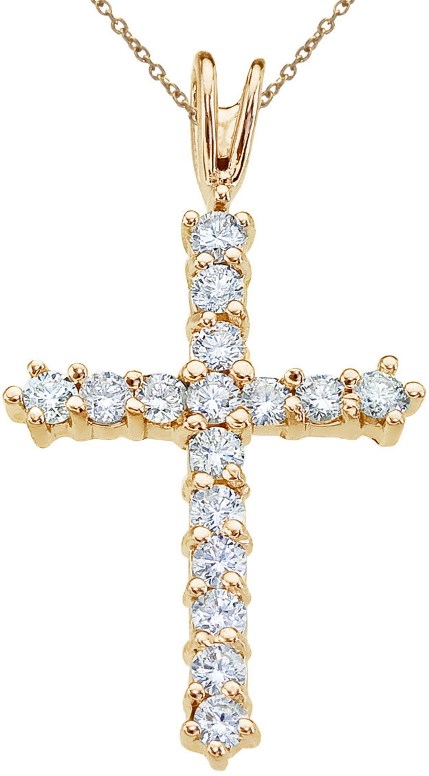 14K Yellow Gold Straight 0.56 ctw Diamond Cross Pendant (Chain NOT included)