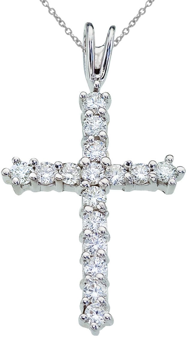 14K White Gold Straight Diamond Cross Pendant (Chain NOT included)