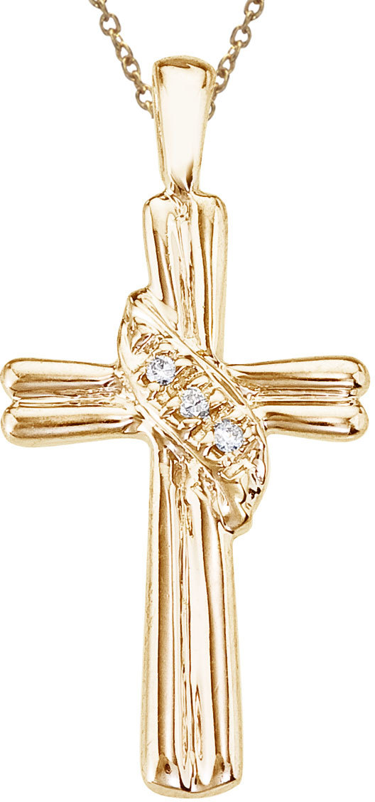 14K Yellow Gold Diamond  Fashion Cross Pendant (Chain NOT included)