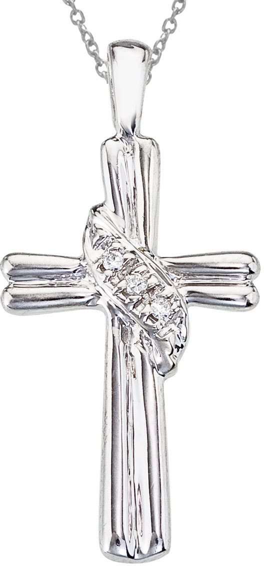 14K White Gold Diamond Fashion Cross Pendant (Chain NOT included)
