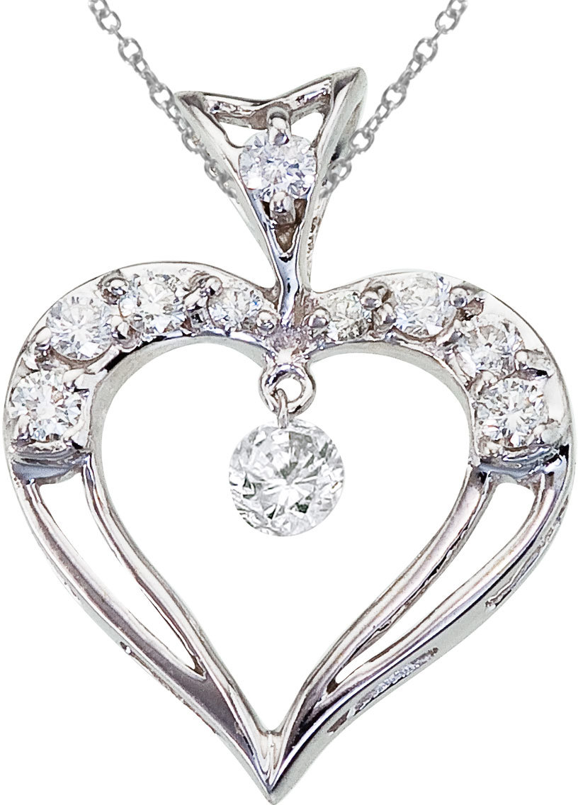 14K White Gold Dashing Diamond Heart Pendant (Chain NOT included)