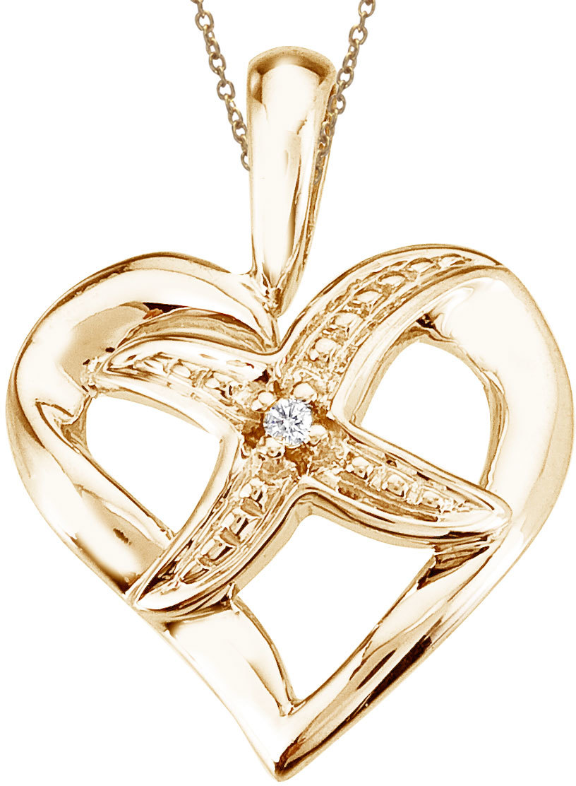 14K Yellow Gold Diamond Fashion Heart Star Pendant (Chain NOT included)