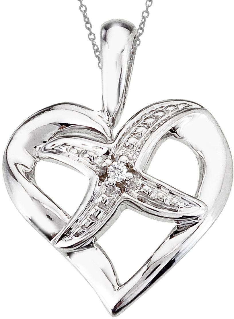 14K White Gold Diamond Fashion Heart Pendant (Chain NOT included)