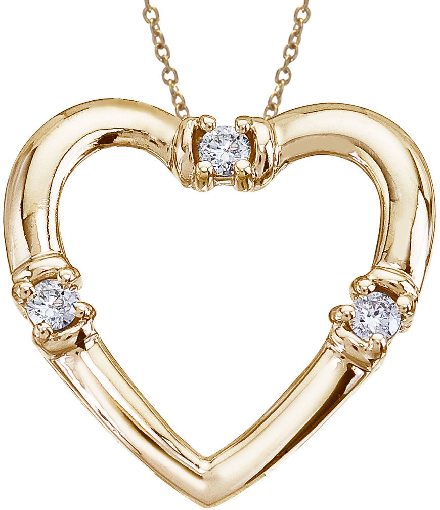14K Yellow Gold and Diamond Open Heart Pendant (Chain NOT included)