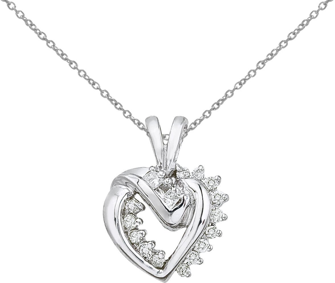 14K White Gold Diamond Heart Pendant (Chain NOT included) (CM-P9014W)