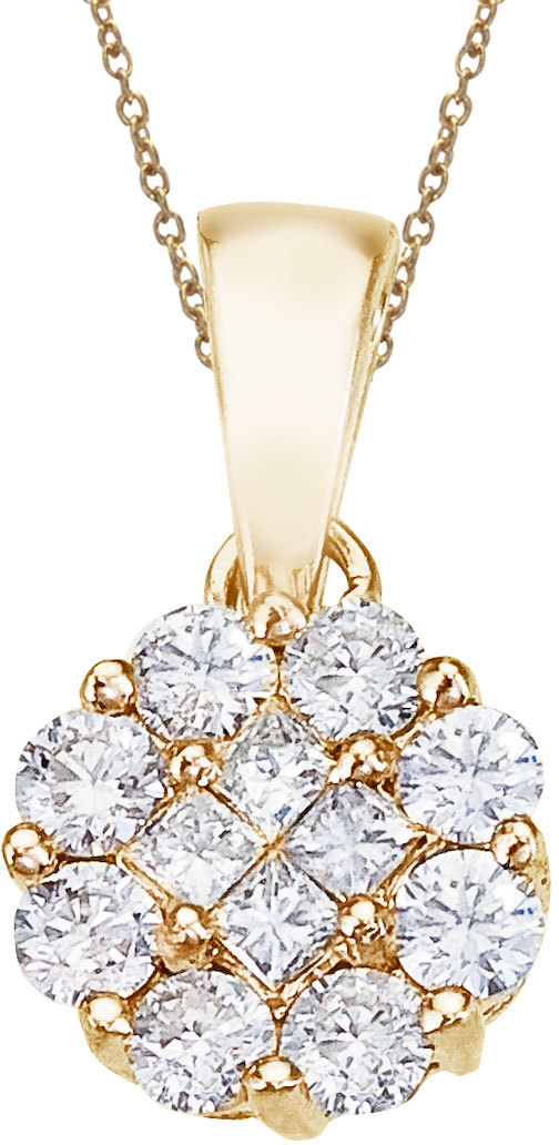 14K Yellow Gold .50 ctw Diamond Clustaire Pendant (Chain NOT included)