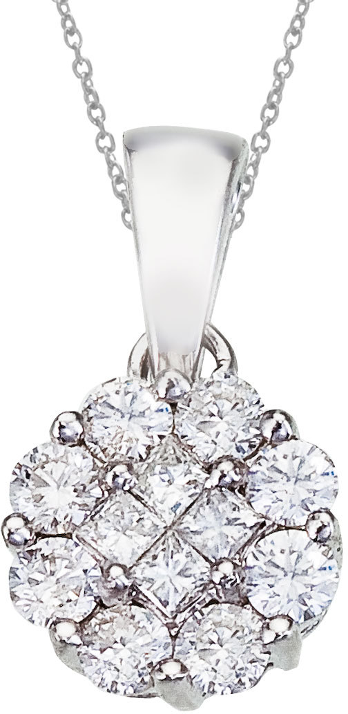 14K White Gold Diamond Clustaire Pendant (Chain NOT included)
