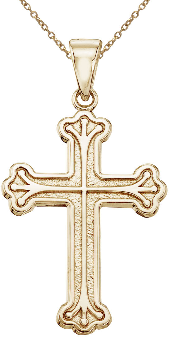 14K Yellow Gold Large Cross Pendant (Chain NOT included)