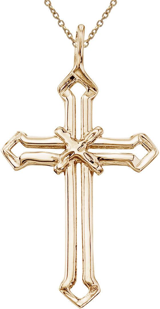 14K Yellow Gold Open Cross Pendant (Chain NOT included)