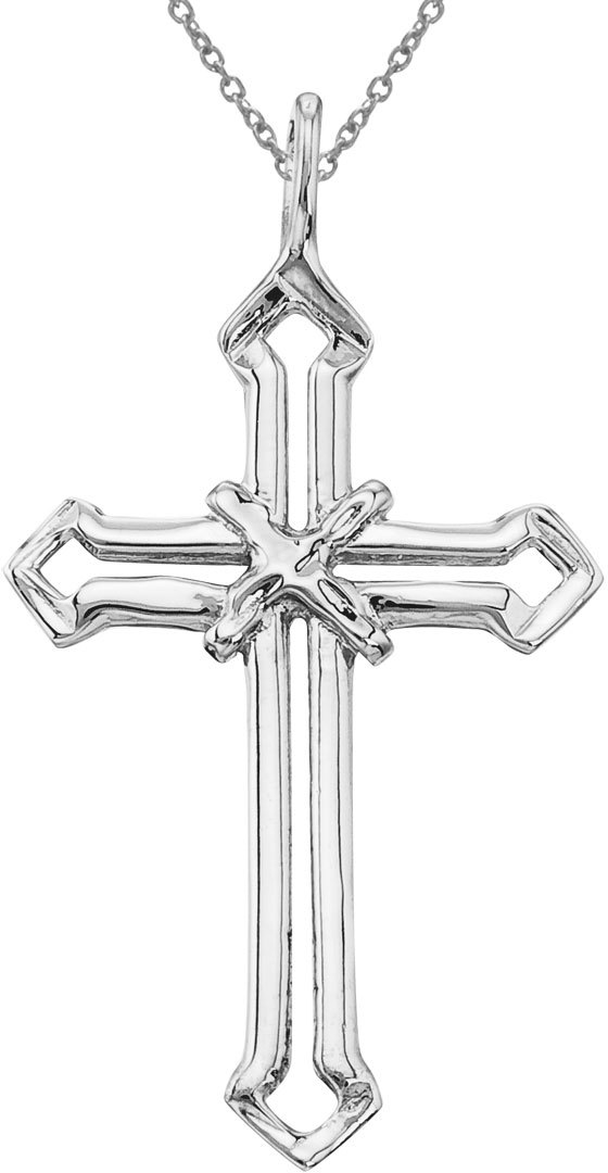 14K White Gold Open Cross Pendant (Chain NOT included)