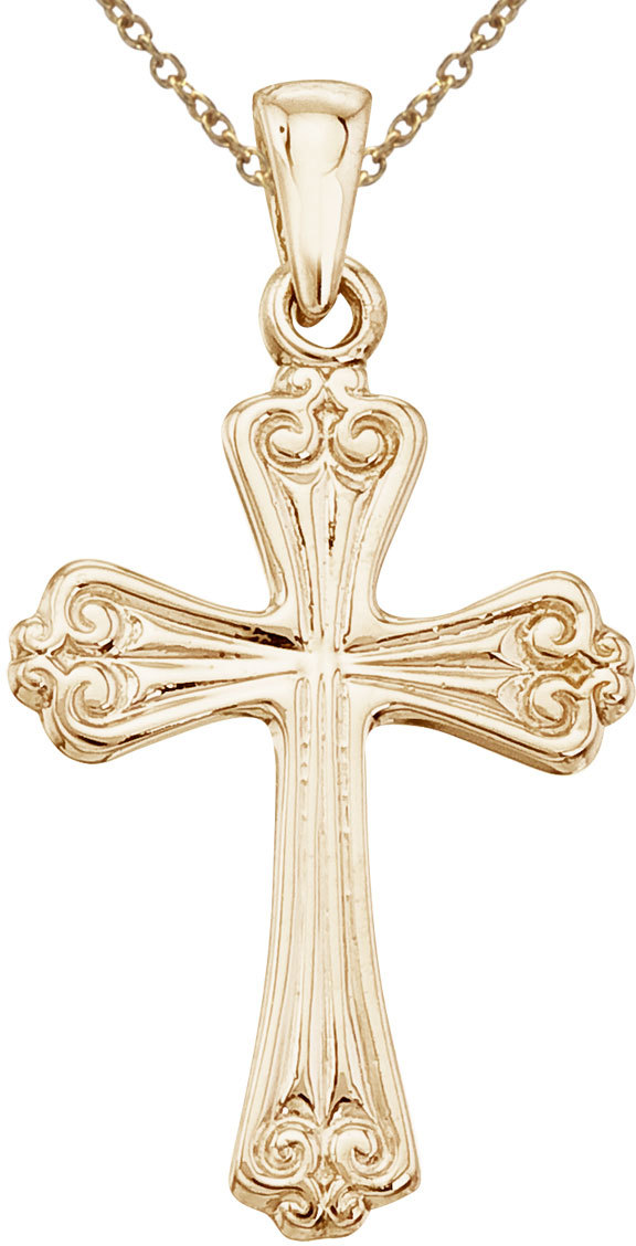 14K Yellow Gold Cross Pendant (Chain NOT included)