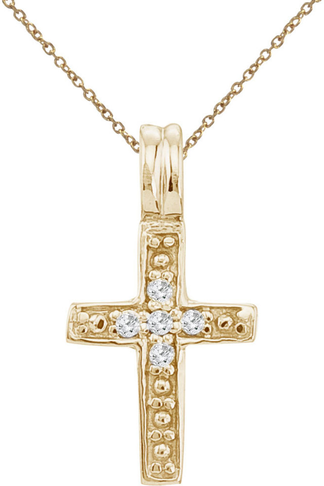 14K Yellow Gold Small Diamond Cross Pendant (Chain NOT included) (CM-P9106)
