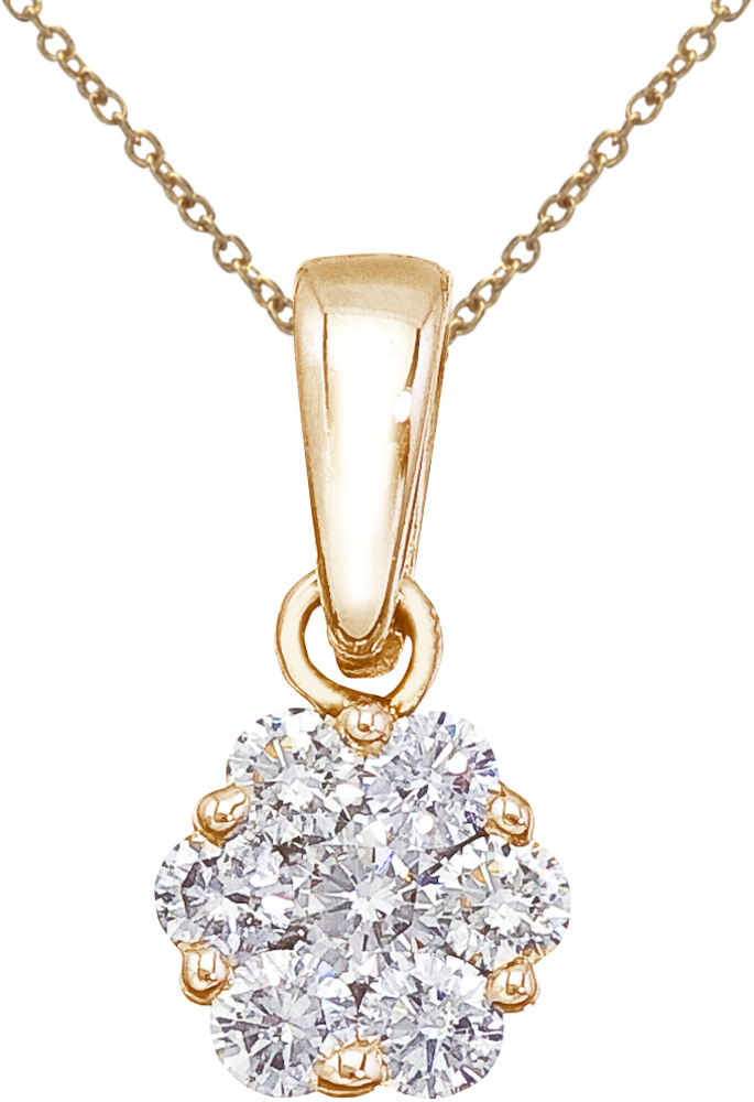 14K Yellow Gold .50 ctw Diamond Cluster Pendant (Chain NOT included)