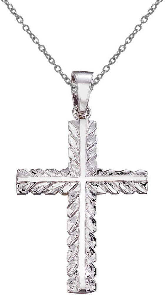14K White Gold Leaf Cross Pendant (Chain NOT included) (CM-P9115W)