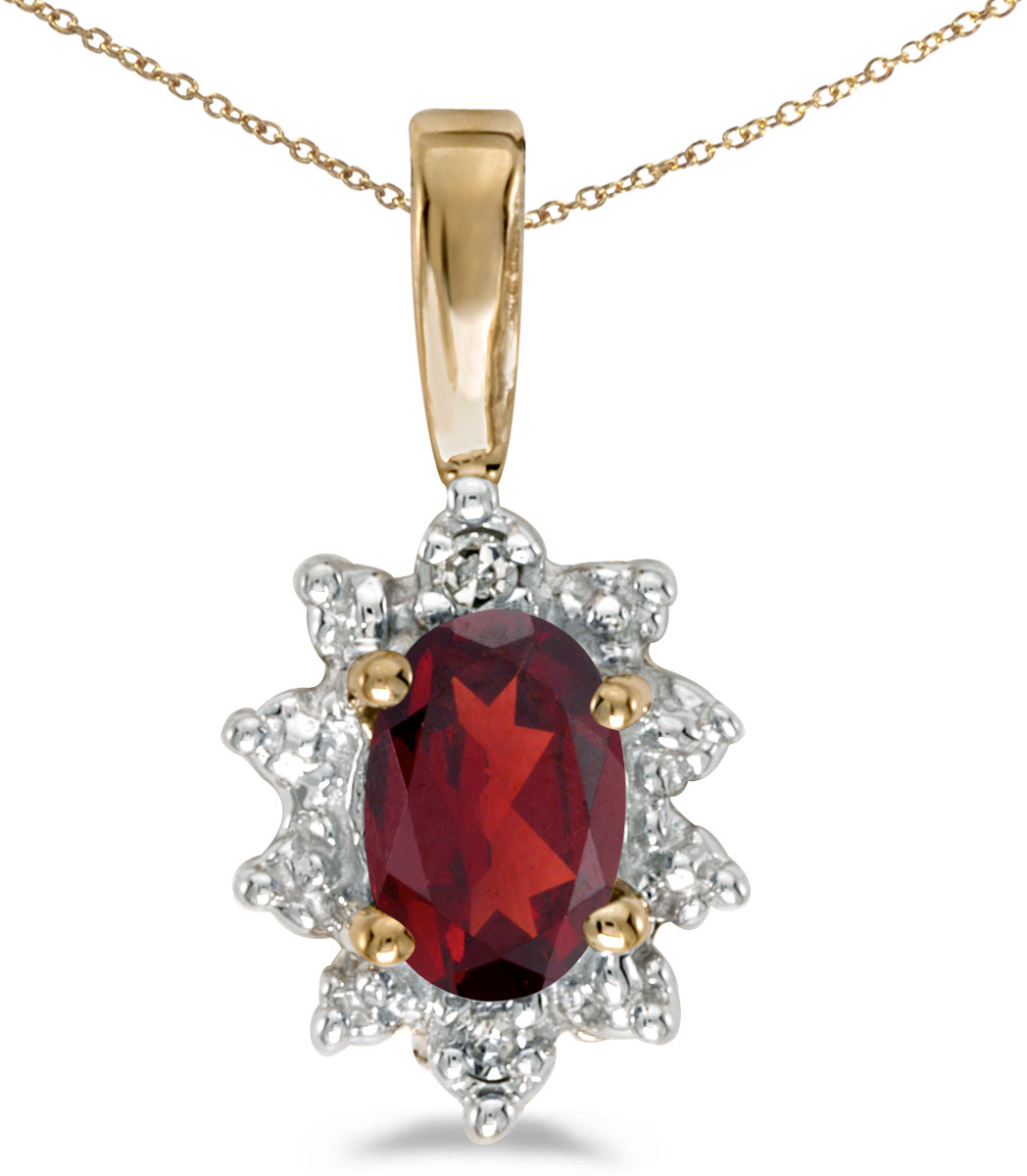 14k Yellow Gold Oval Garnet And Diamond Pendant (Chain NOT included)