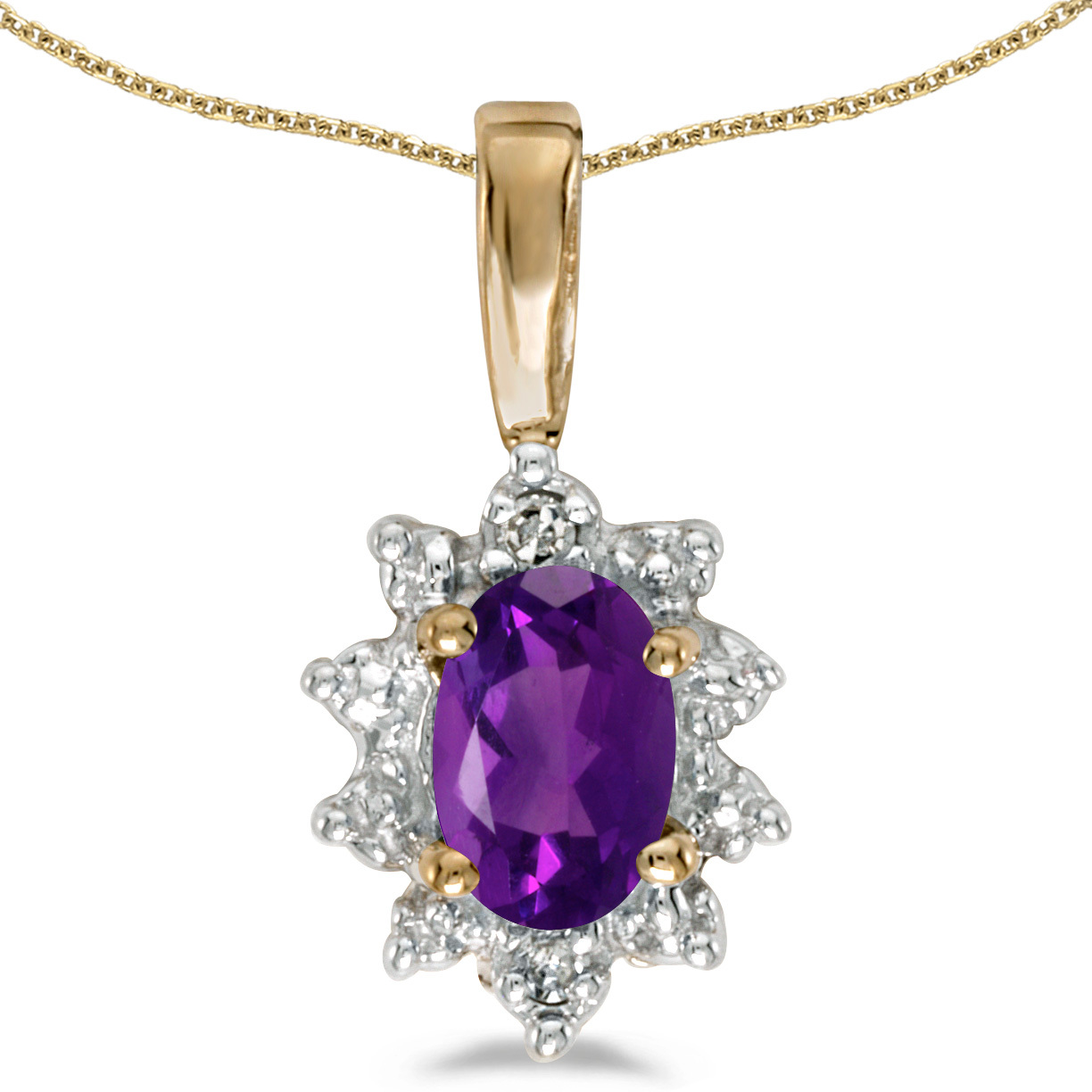 14k Yellow Gold Oval Amethyst And Diamond Pendant (Chain NOT included)