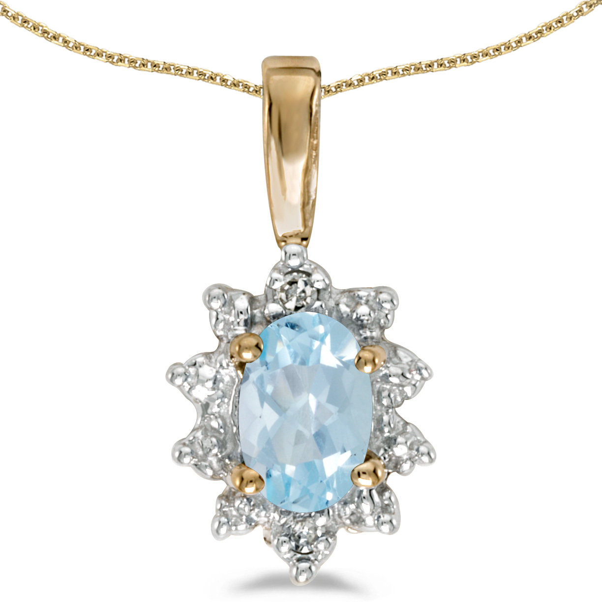 14k Yellow Gold Oval Aquamarine And Diamond Pendant (Chain NOT included)