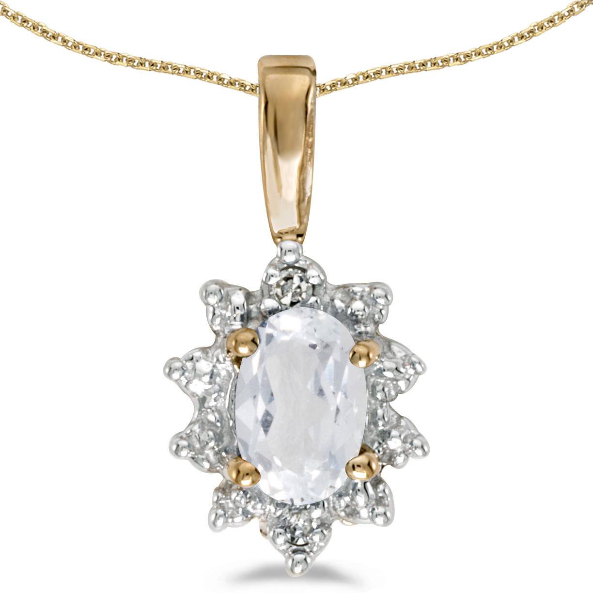 14k Yellow Gold Oval White Topaz And Diamond Pendant (Chain NOT included)