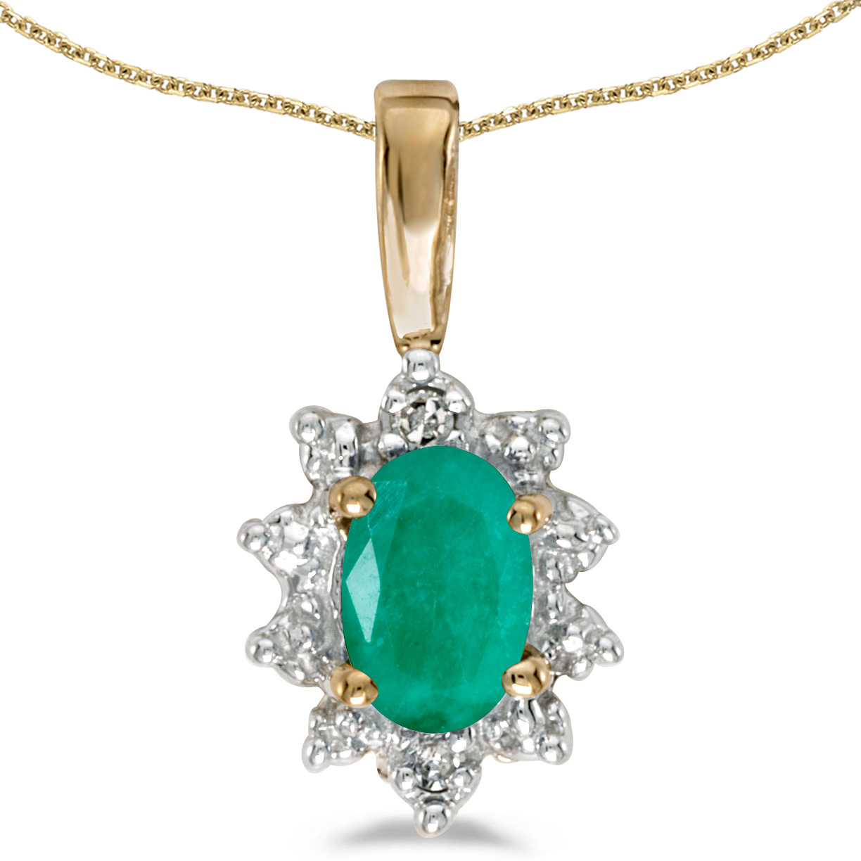 14k Yellow Gold Oval Emerald And Diamond Pendant (Chain NOT included)