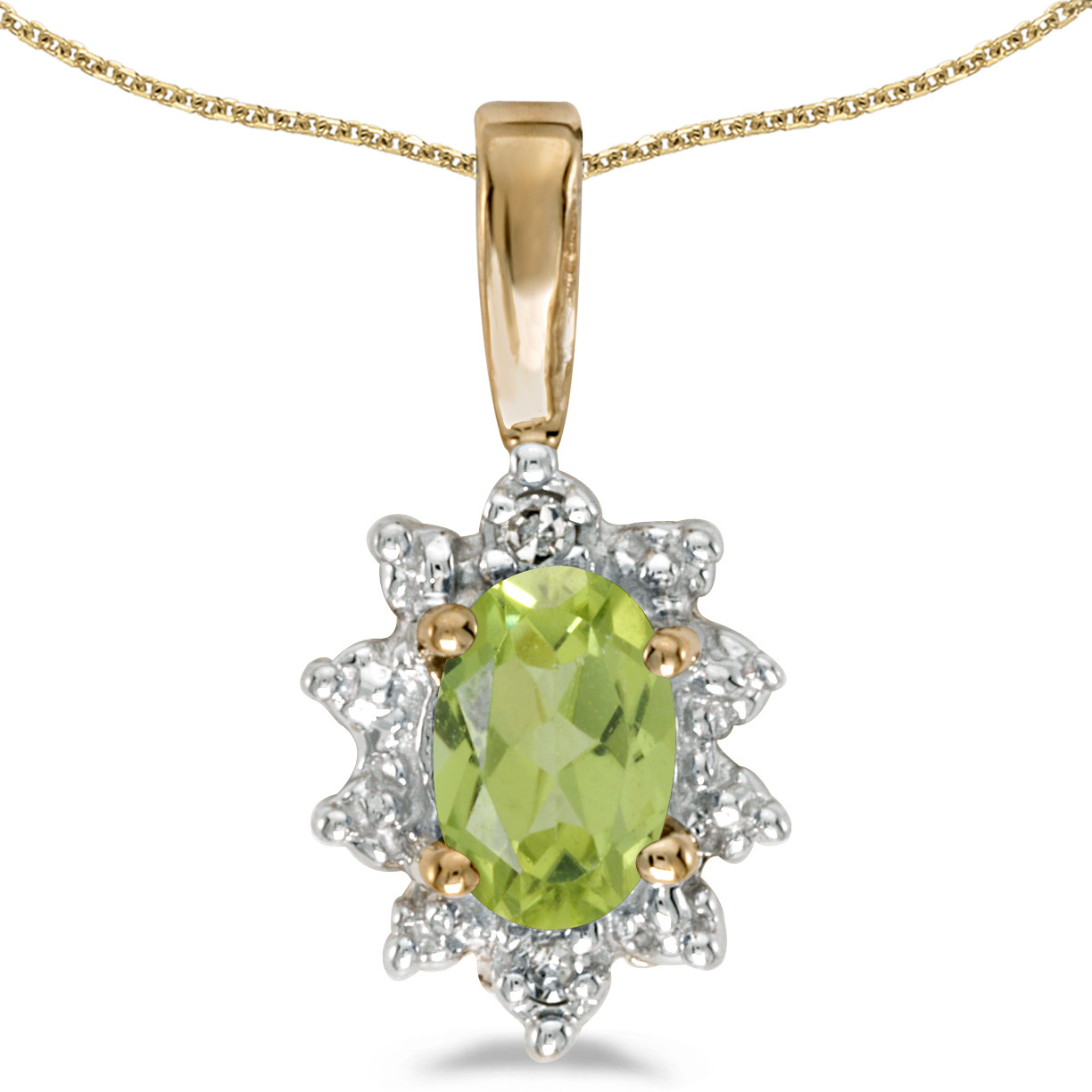 14k Yellow Gold Oval Peridot And Diamond Pendant (Chain NOT included)