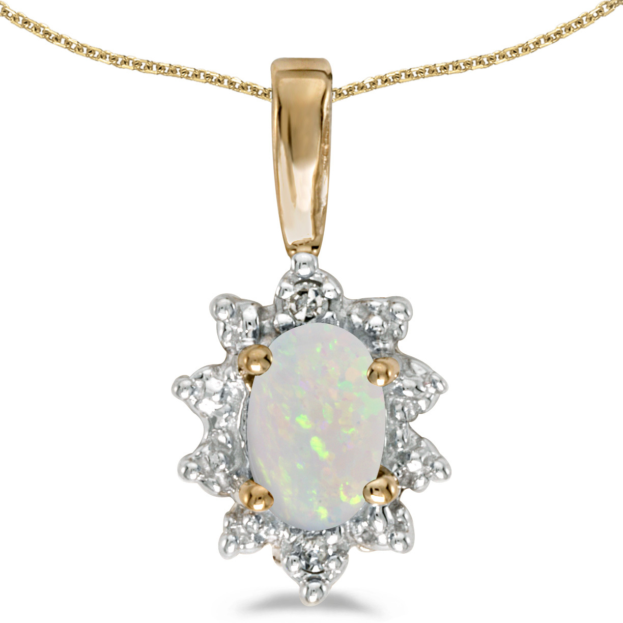 14k Yellow Gold Oval Opal And Diamond Pendant (Chain NOT included)