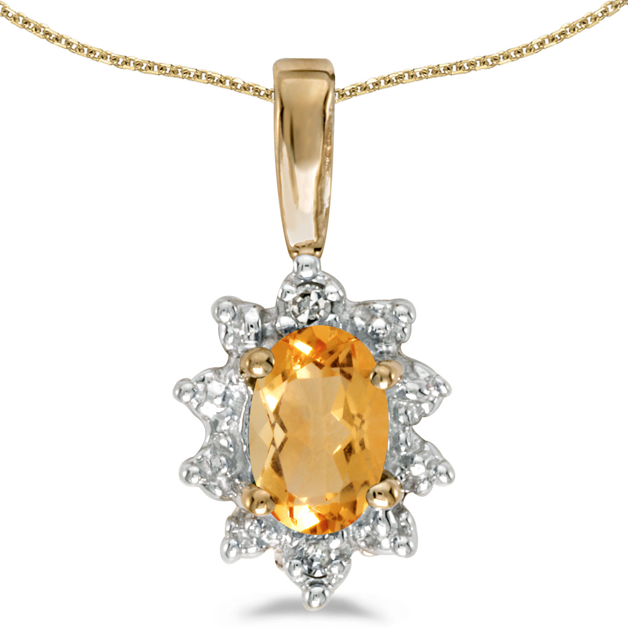 14k Yellow Gold Oval Citrine And Diamond Pendant (Chain NOT included)