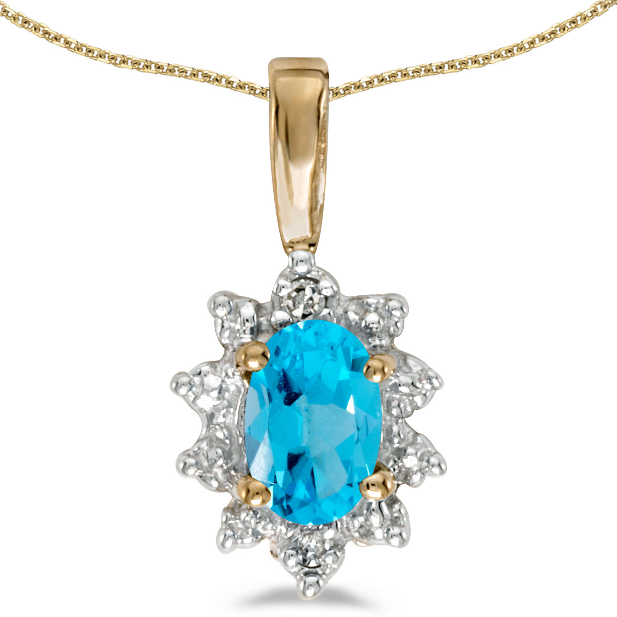 14k Yellow Gold Oval Blue Topaz And Diamond Pendant (Chain NOT included)