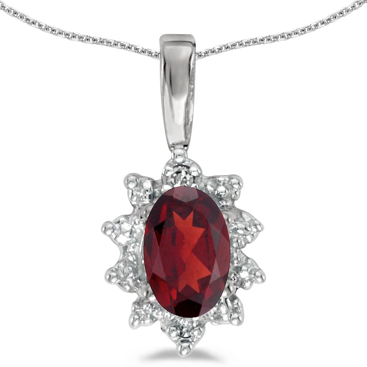 14k White Gold Oval Garnet And Diamond Pendant (Chain NOT included)