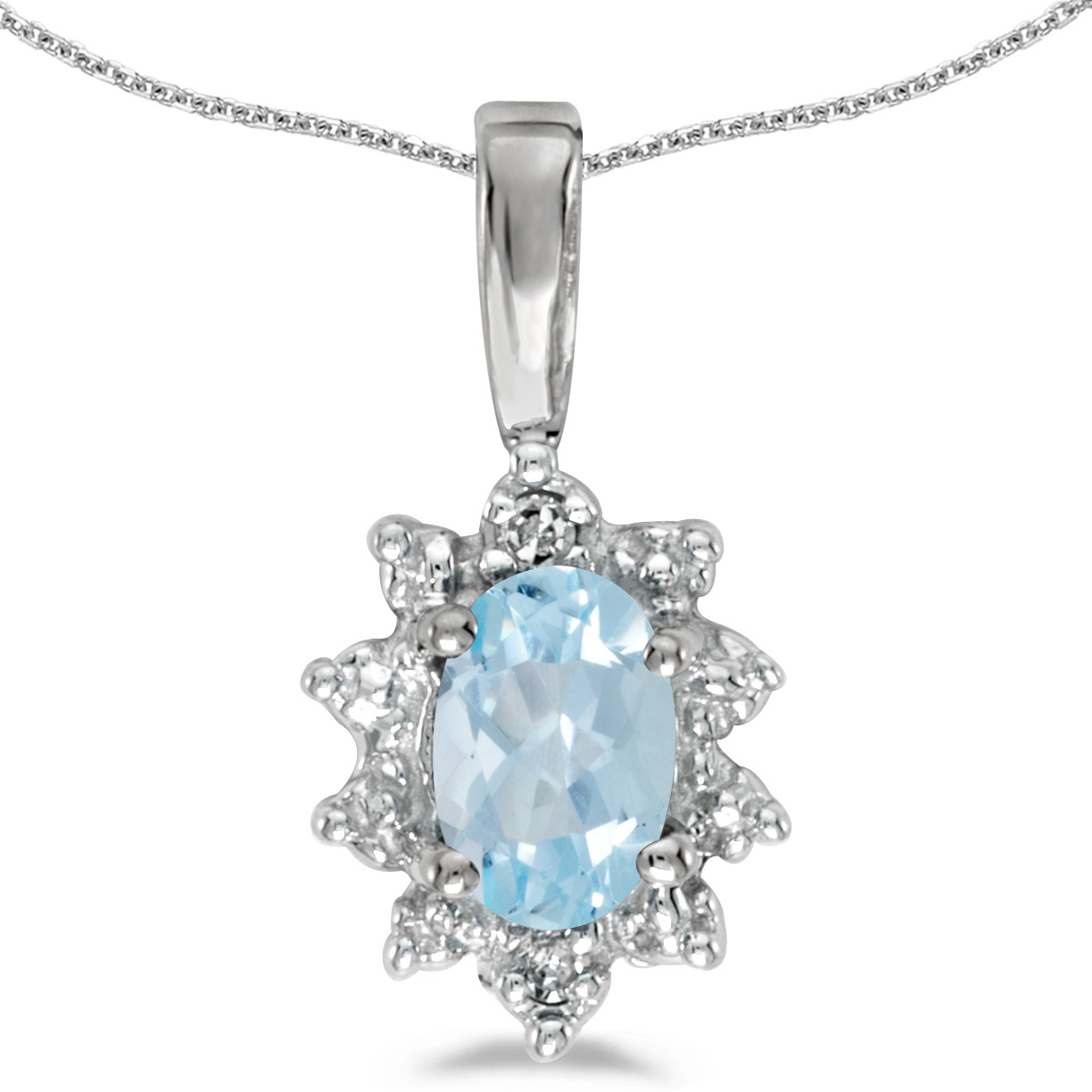 14k White Gold Oval Aquamarine And Diamond Pendant (Chain NOT included)
