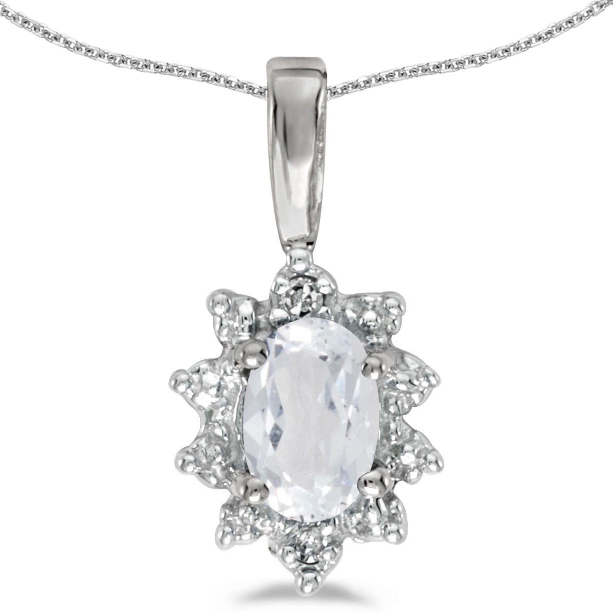 14k White Gold Oval White Topaz And Diamond Pendant (Chain NOT included)