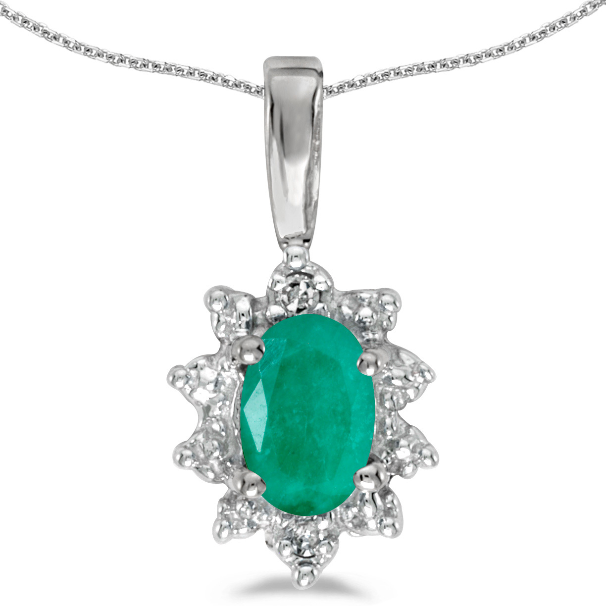 14k White Gold Oval Emerald And Diamond Pendant (Chain NOT included)
