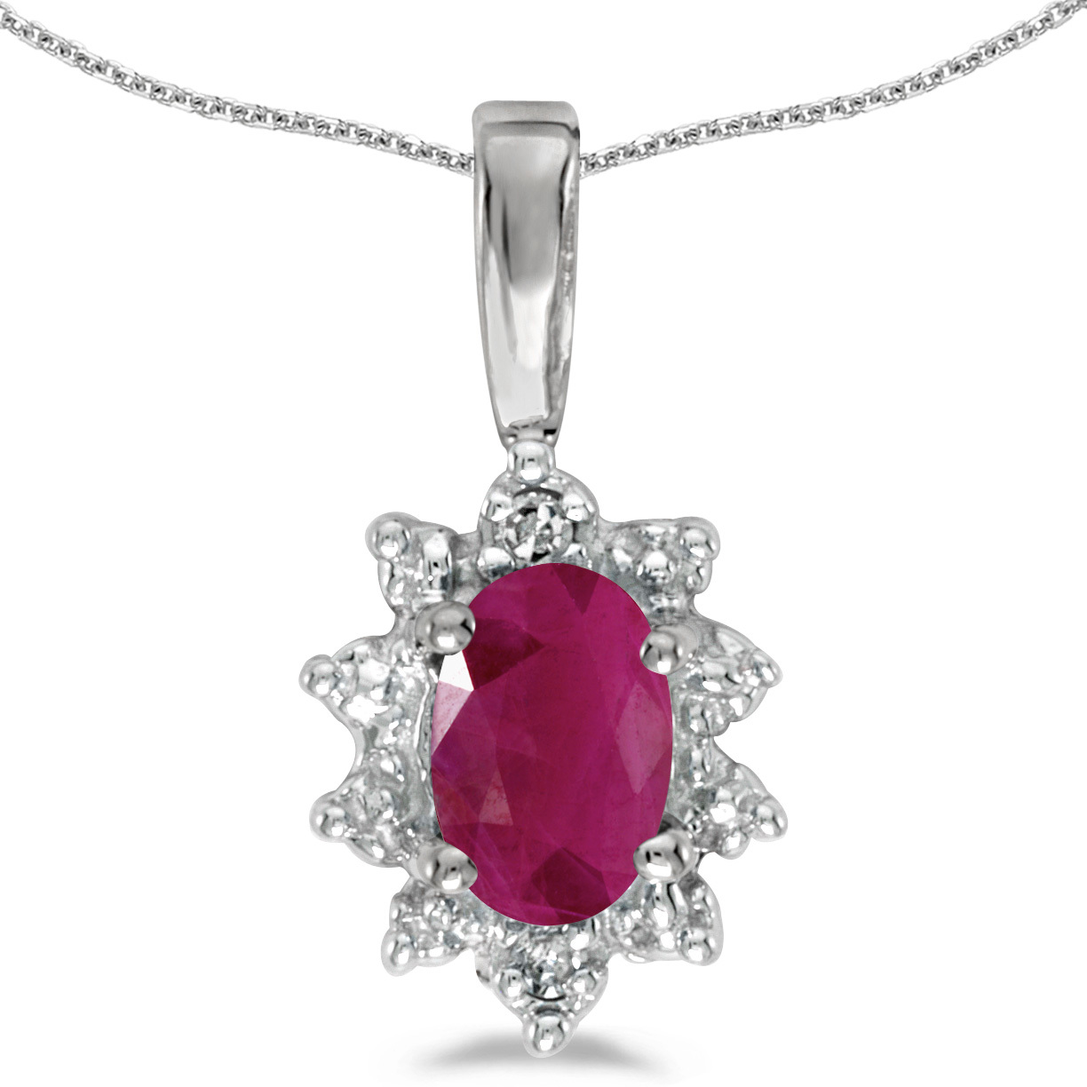 14k White Gold Oval Ruby And Diamond Pendant (Chain NOT included)