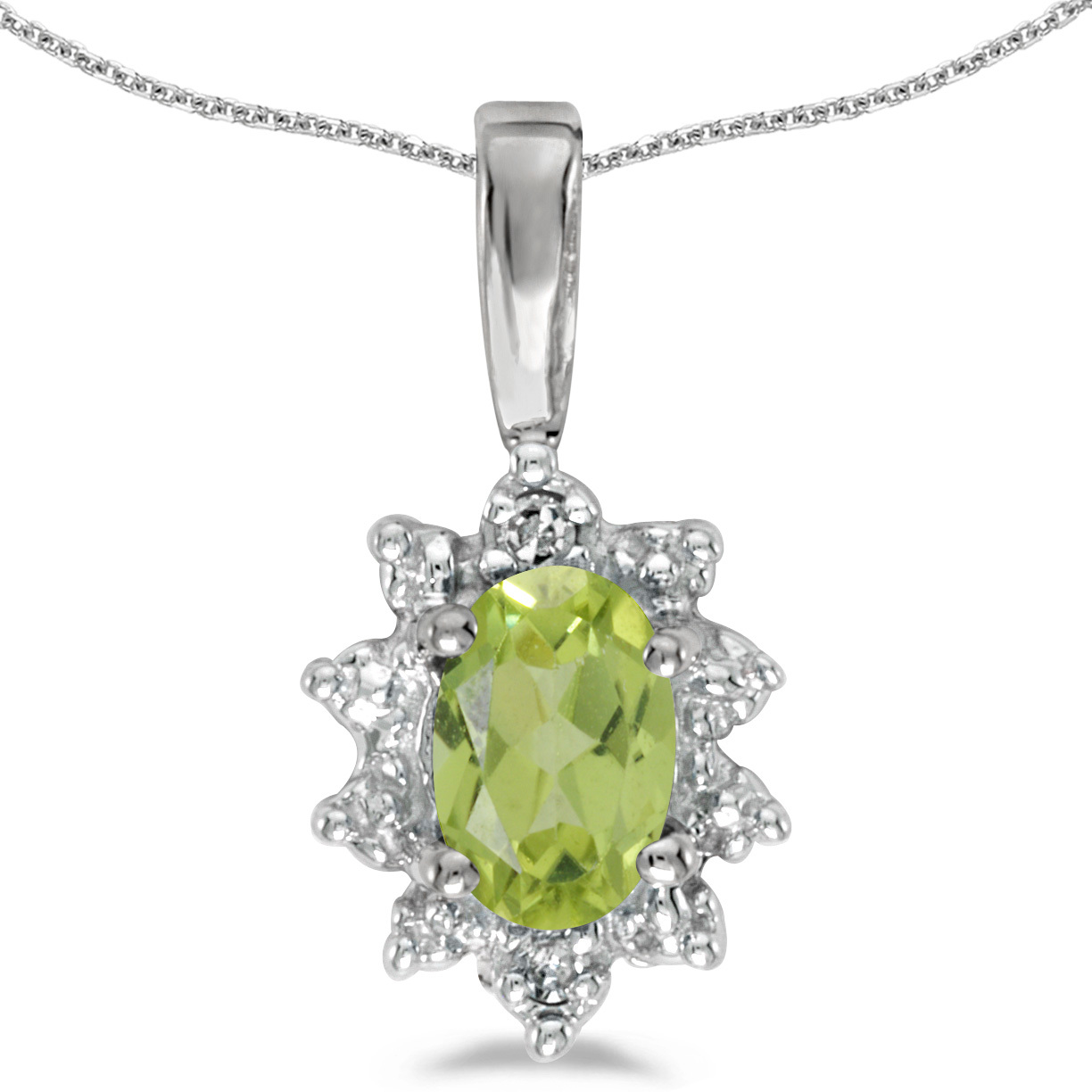 14k White Gold Oval Peridot And Diamond Pendant (Chain NOT included)