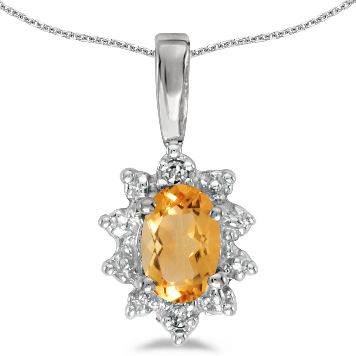 14k White Gold Oval Citrine And Diamond Pendant (Chain NOT included)