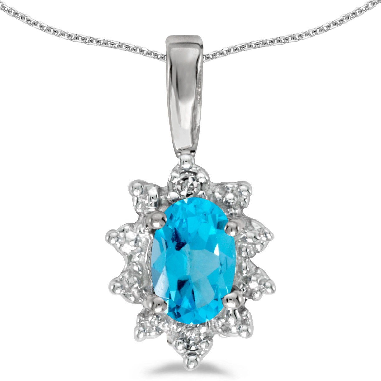 14k White Gold Oval Blue Topaz And Diamond Pendant (Chain NOT included)