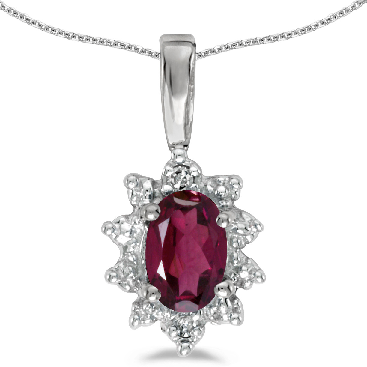 14k White Gold Oval Rhodolite Garnet And Diamond Pendant (Chain NOT included)