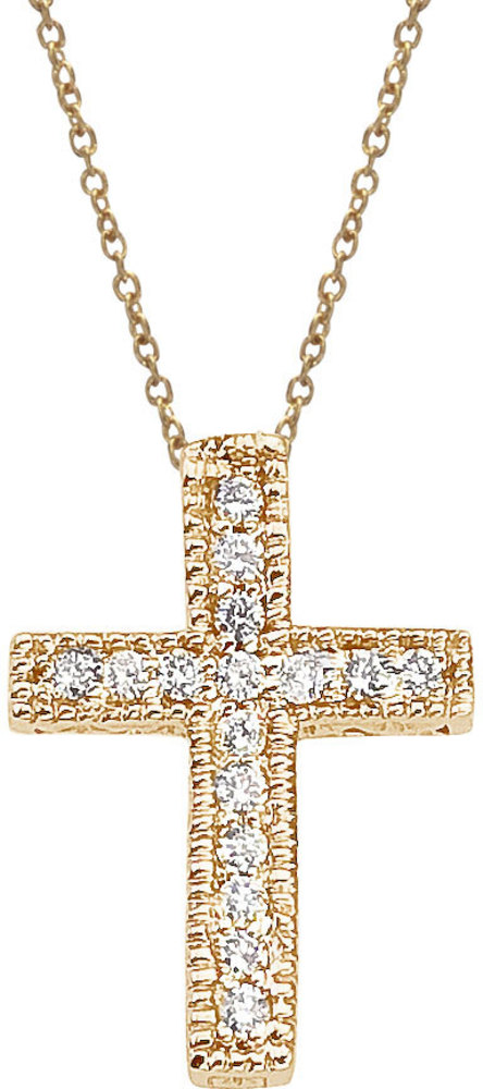 14K Yellow Gold .10 ctw Diamond Scroll Cross Pendant (Chain NOT included)