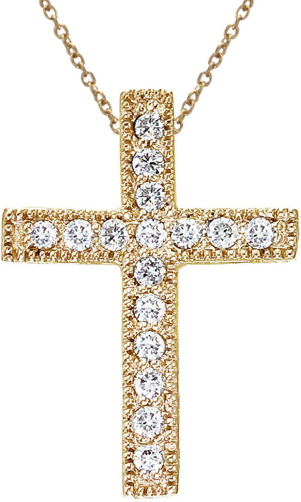 14K Yellow Gold .16 Ct Scroll Diamond Cross Pendant (Chain NOT included)