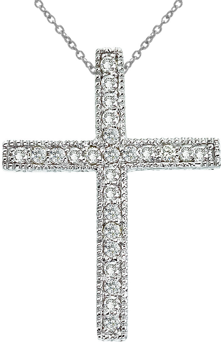 14K White Gold Large Scroll .25 ctw Diamond Cross Pendant (Chain NOT included)