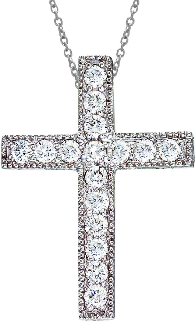 14K White Gold Large Scroll .50 ctw Diamond Cross Pendant (Chain NOT included)