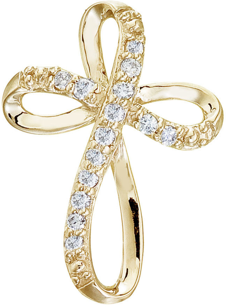 14K Yellow Gold Diamond Swirl Cross Pendant (Chain NOT included)