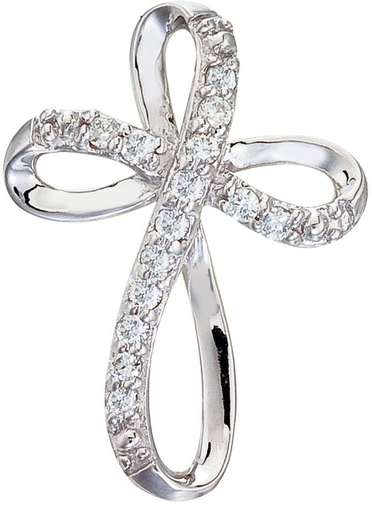 14K White Gold Medium Swirl Diamond Cross Pendant (Chain NOT included)